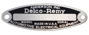 Serial Number Tag, Delco Remy Starter, 6 Volt