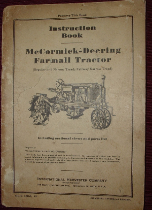 Instruction Book, McCormick-Deering Farmall Tractor