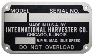 Old Style Serial Number Tag
